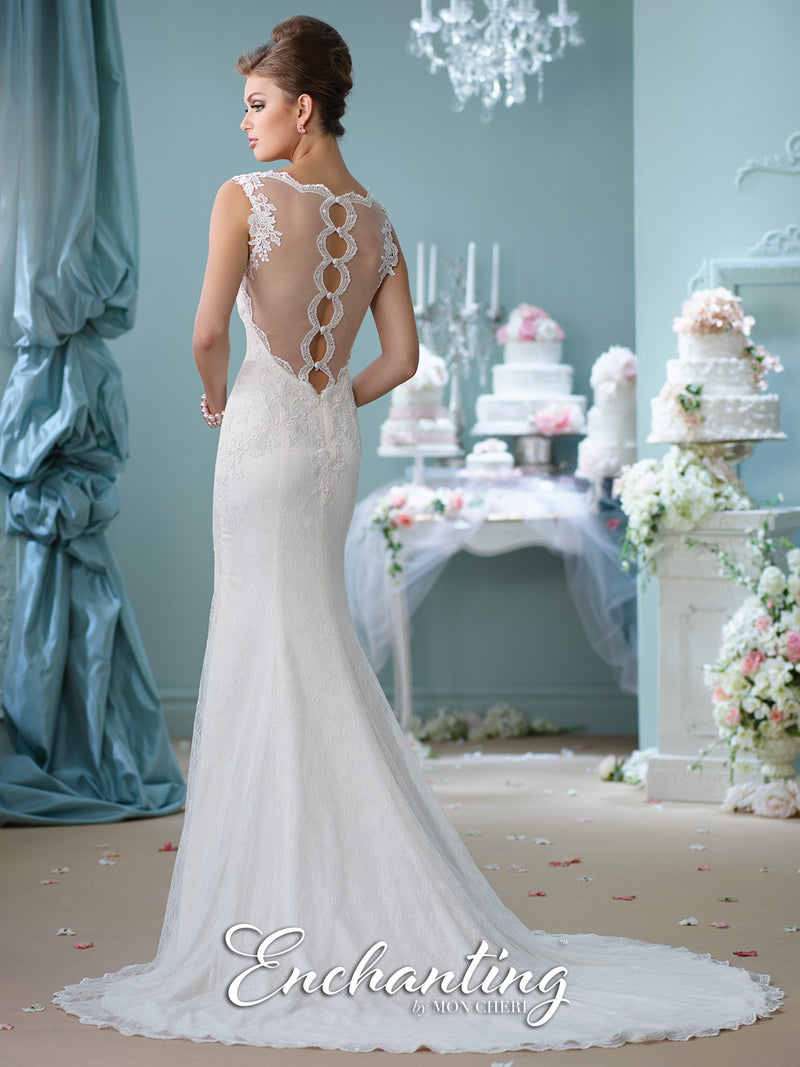 Divine Lace Trumpet Gown with Cap Sleeves