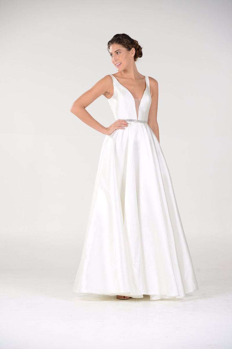 A-line Long Formal with V-Neckline - Barbara's Boutique