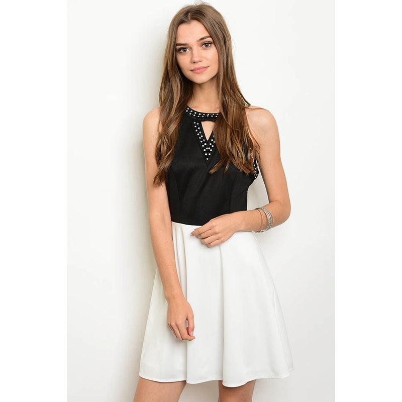 BLACK WHITE DRESS - Barbara's Boutique