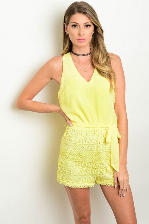 Yellow Crocheted Romper