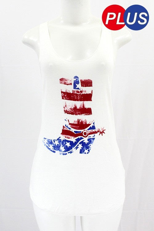 White American Flag Boot Tank Top