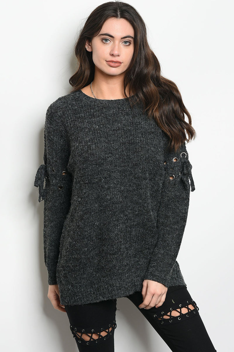 Chunky Charcoal Sweater With Lace-Up Details