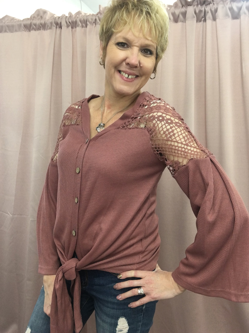 Dusty Rose Waffle Knit Top With Lace Shoulders