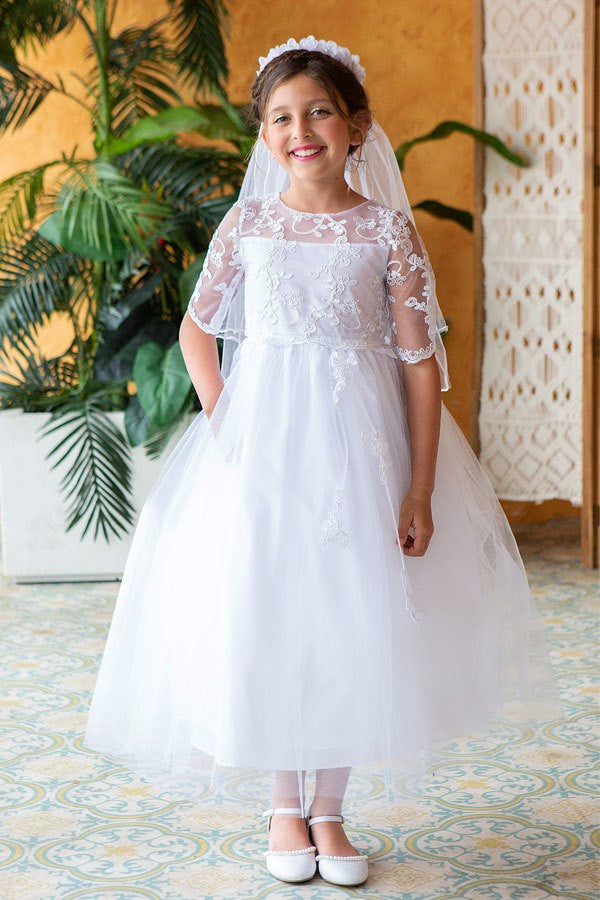 Miniature Bride Lace Applique Top With Three Quarter Sleeve