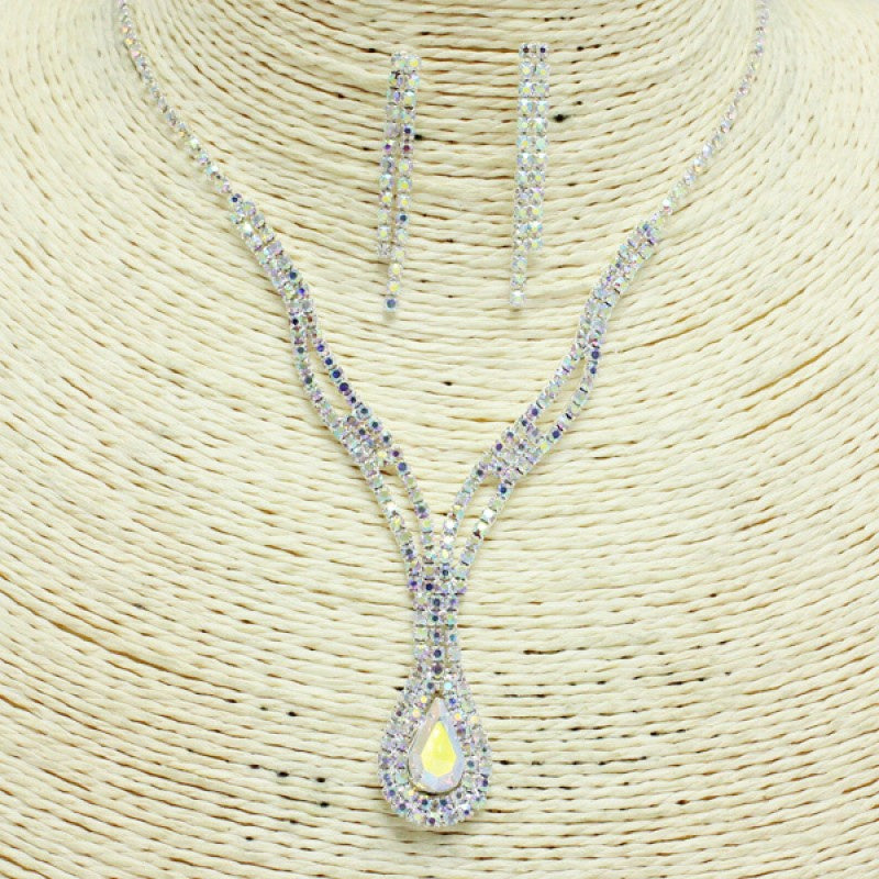 Silver Iridescent Rhinestone Necklace Set