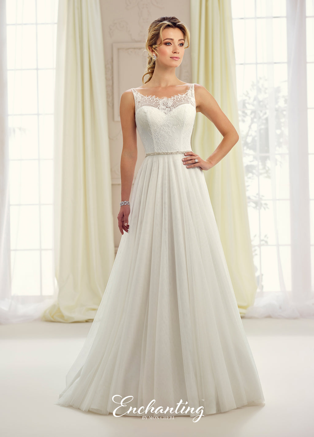 Glamorous Lace and Tulle A-Line Gown with Sabrina Neckline