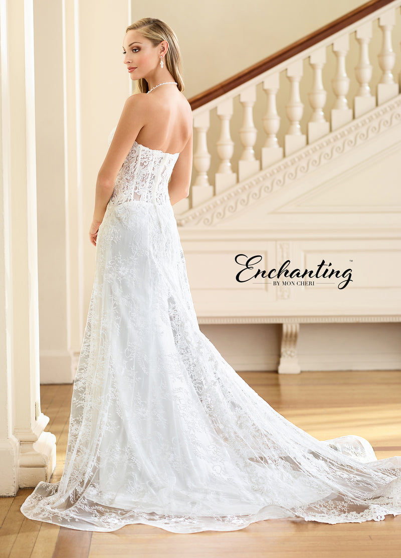 Ravishing Lace Fit and Flare Gown with Sheer Lace Back