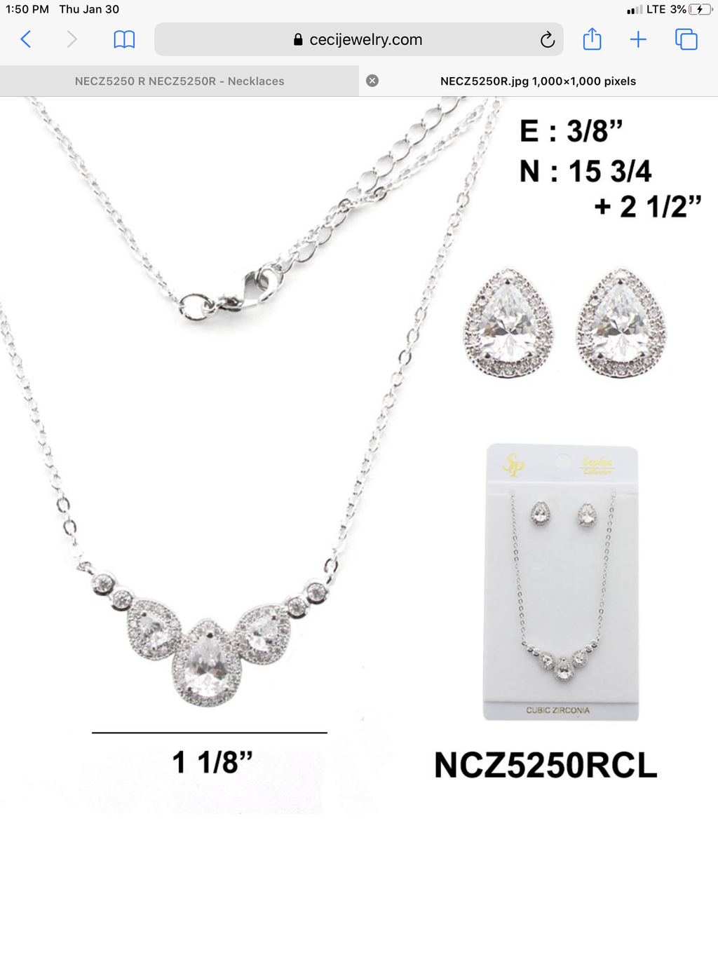 Clear Cubic Necklace Set