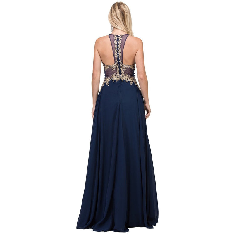 Navy Illusion Bodice Long Prom Gown - Barbara's Boutique