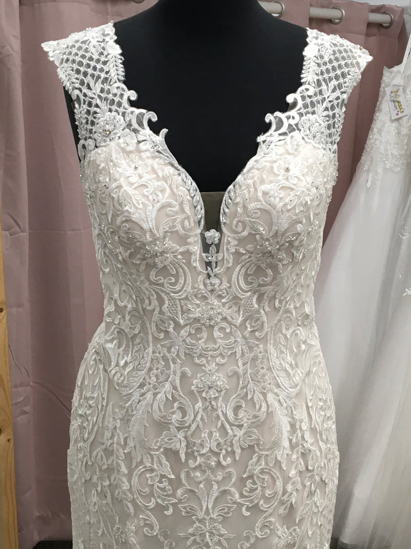 Lace Beaded Gown With Deep V-Neck And Back