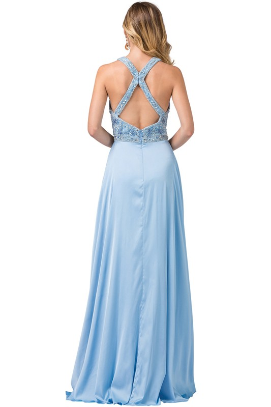 Sky Blue Embellished Deep V-Neckline Prom Dress With Open Back and Chiffon Skirt