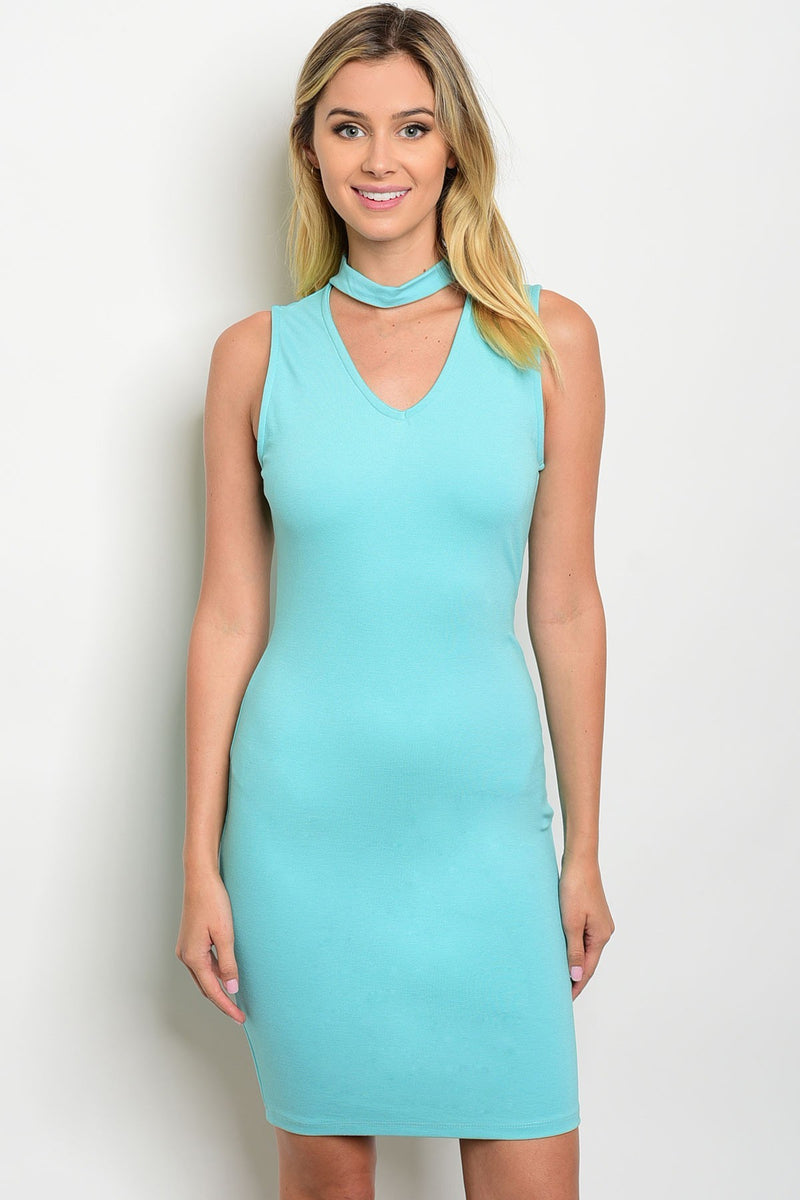 Fitted Mint Choker Dress