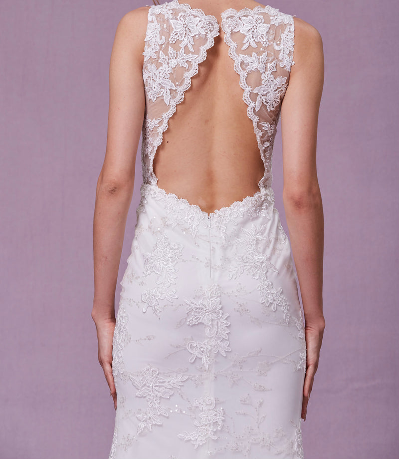 White Deep V Lace Open Back With Fitted Skirt
