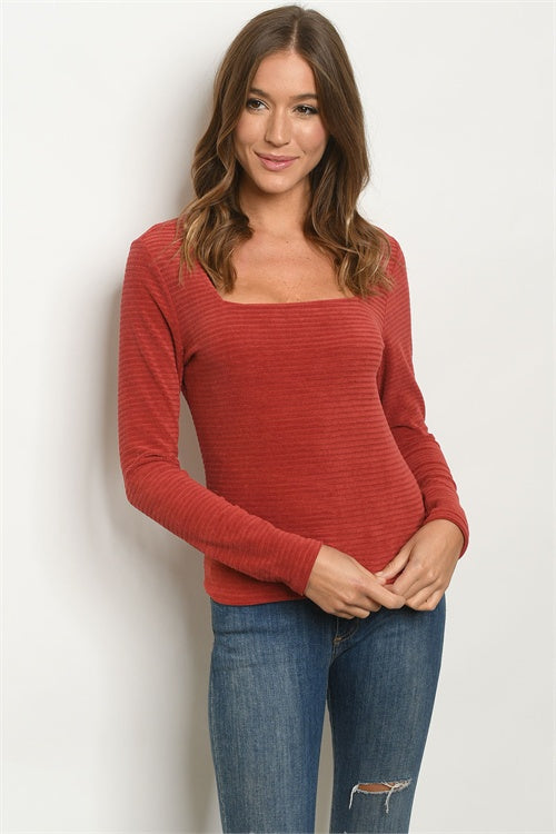 Brick Long Sleeve Square Neck Ribbed Top