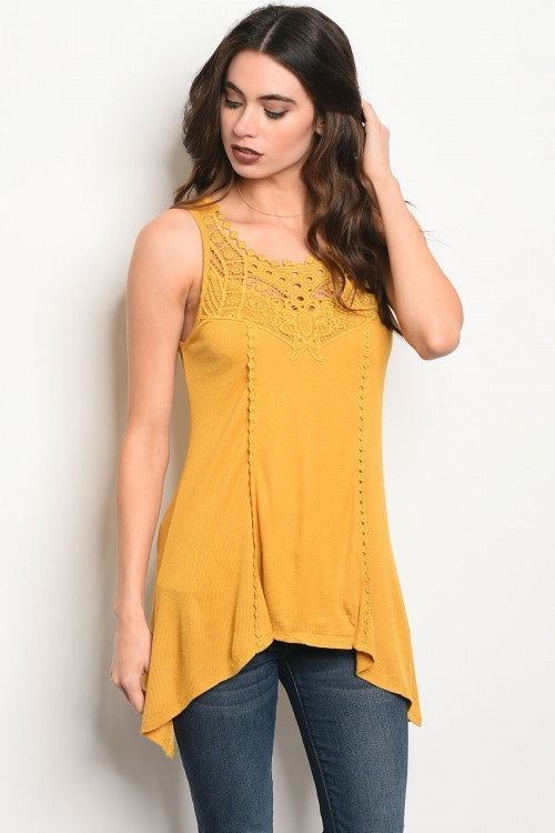 Mustard Tank Top With Lace Details