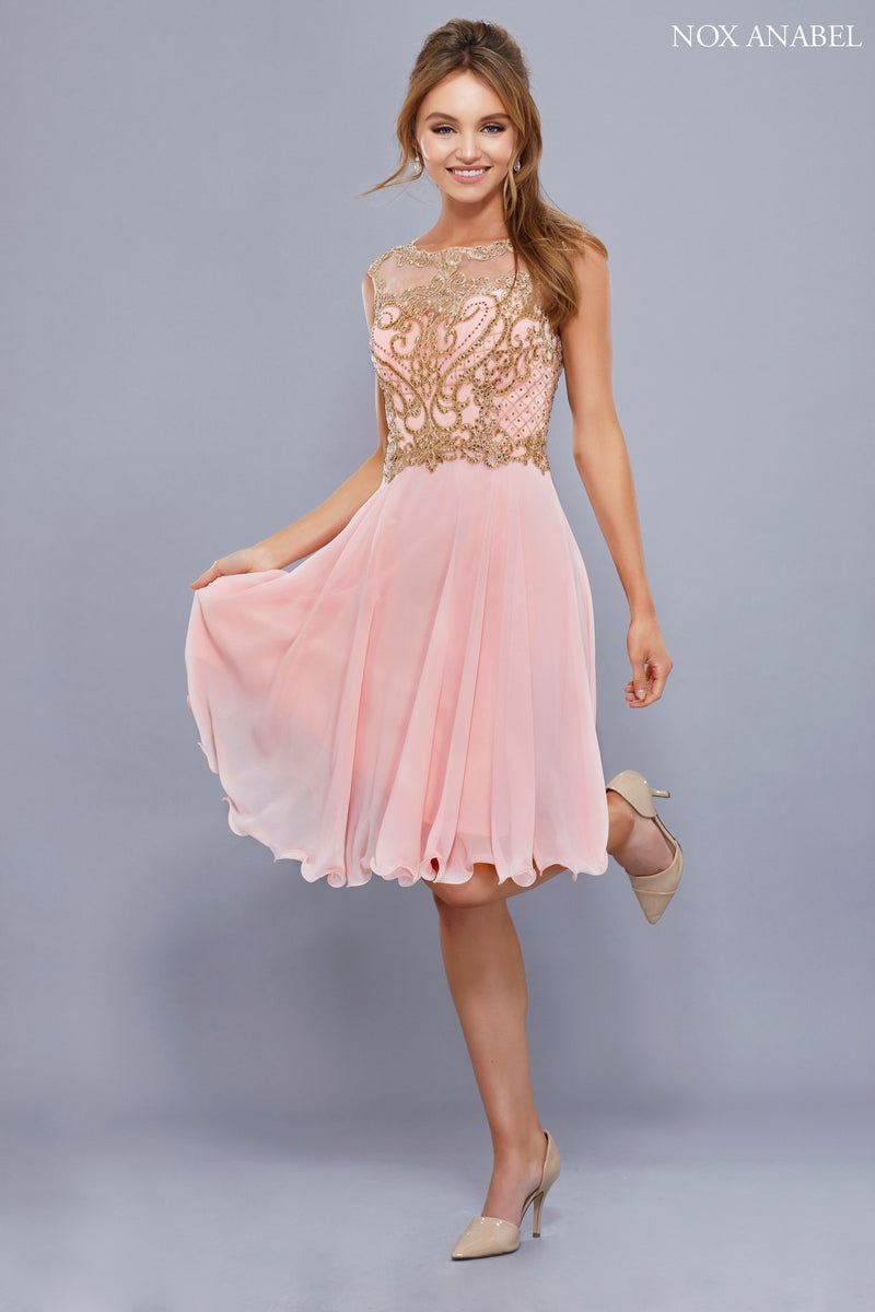 Illusion Bashful Pink with Gold Applique Chiffon Dress