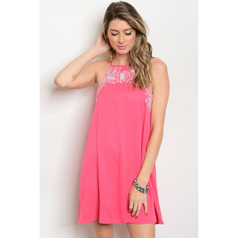 Halter Top Coral Dress With Embroidered Stitching Along Neckline - Barbara's Boutique