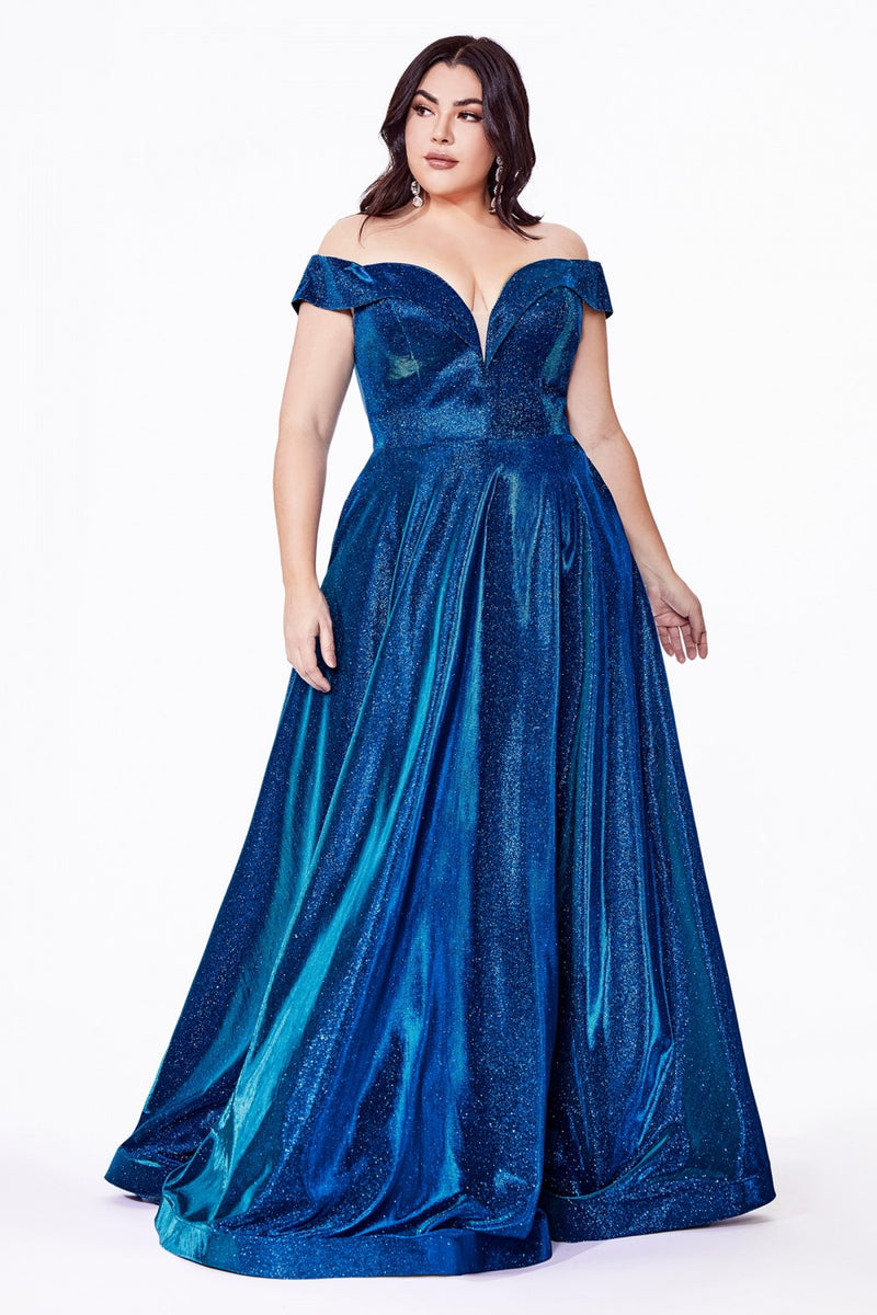 Metallic Blue Off the shoulder a-line gown with metallic glitter