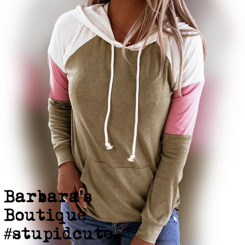 Color Block Hoodie With Tan, Pink & White