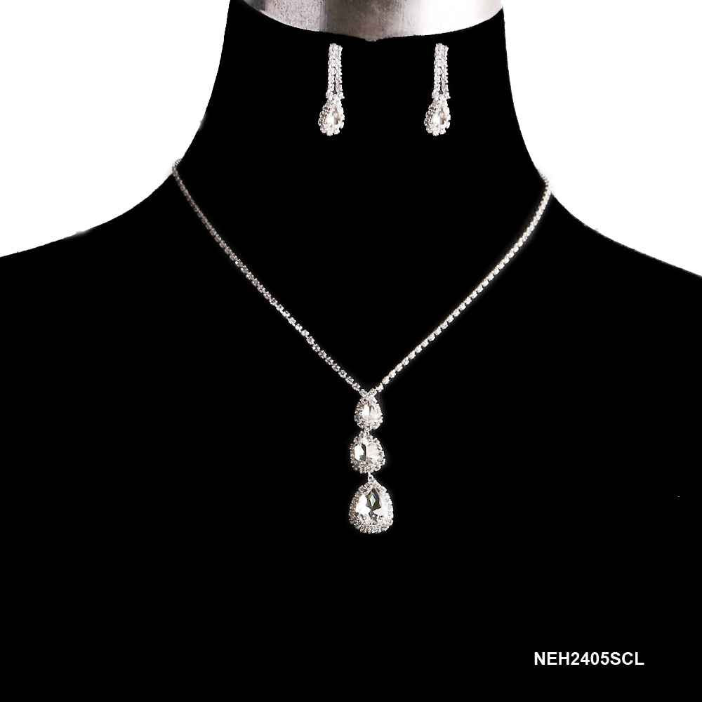 Silver Teardrop Rhinestone Necklace & Earring Set
