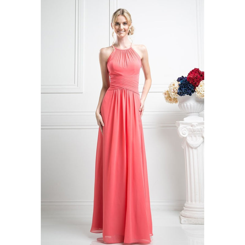 Halter Bridesmaid Dress with Sheer Sweetheart Neck - Barbara's Boutique