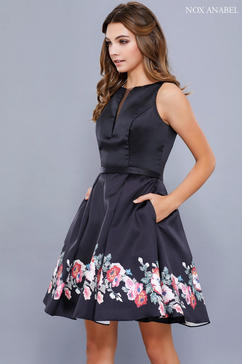 Sleeveless Black Homecoming Dress with Floral Print Skirt