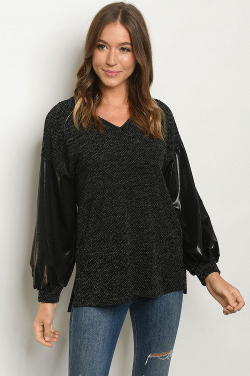 Black Long Sleeve Faux Leather Long Sleeve