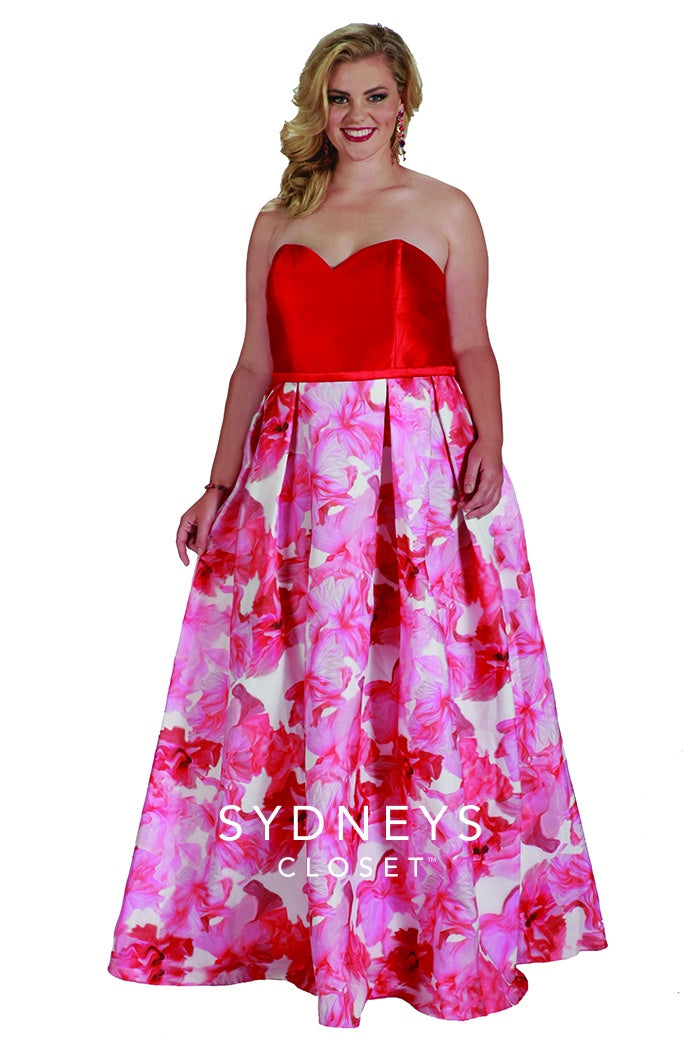 Sweetheart Floral Plus Size Gown - Barbara's Boutique