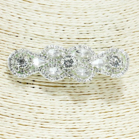 Alligator Hair Clip Silver/Clear Rhinestone HP1009