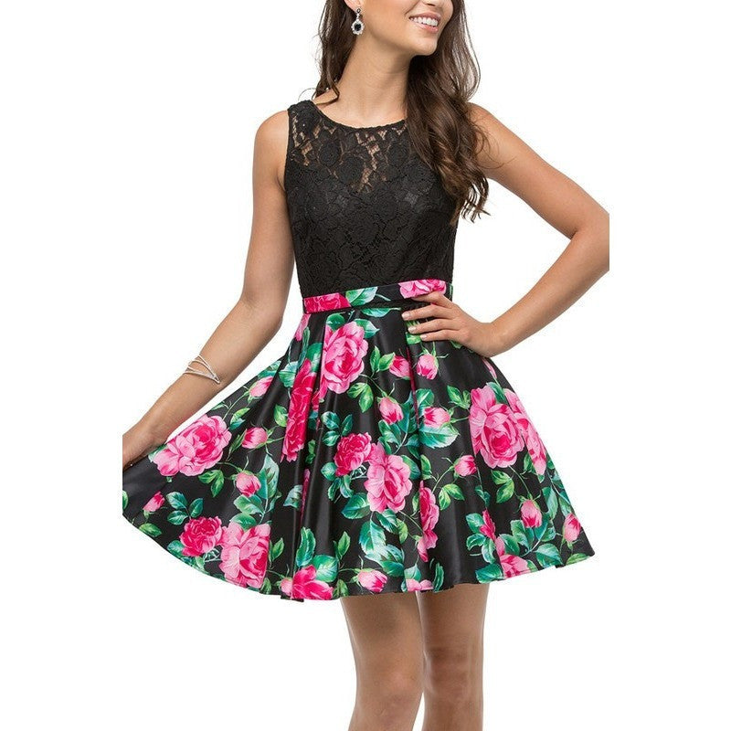 Lace Illusion Bodice Dress with a Floral Print Short Skirt - Barbara's Boutique