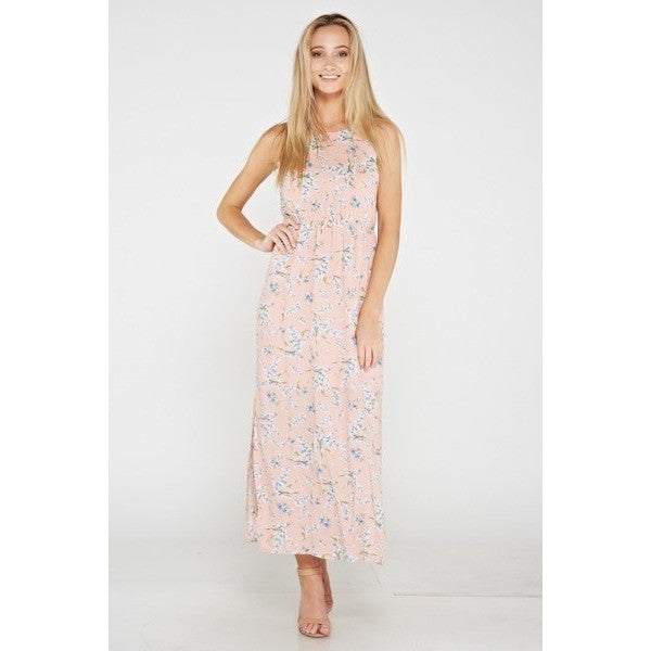 Pink Floral Print Halter Maxi Dress - Barbara's Boutique
