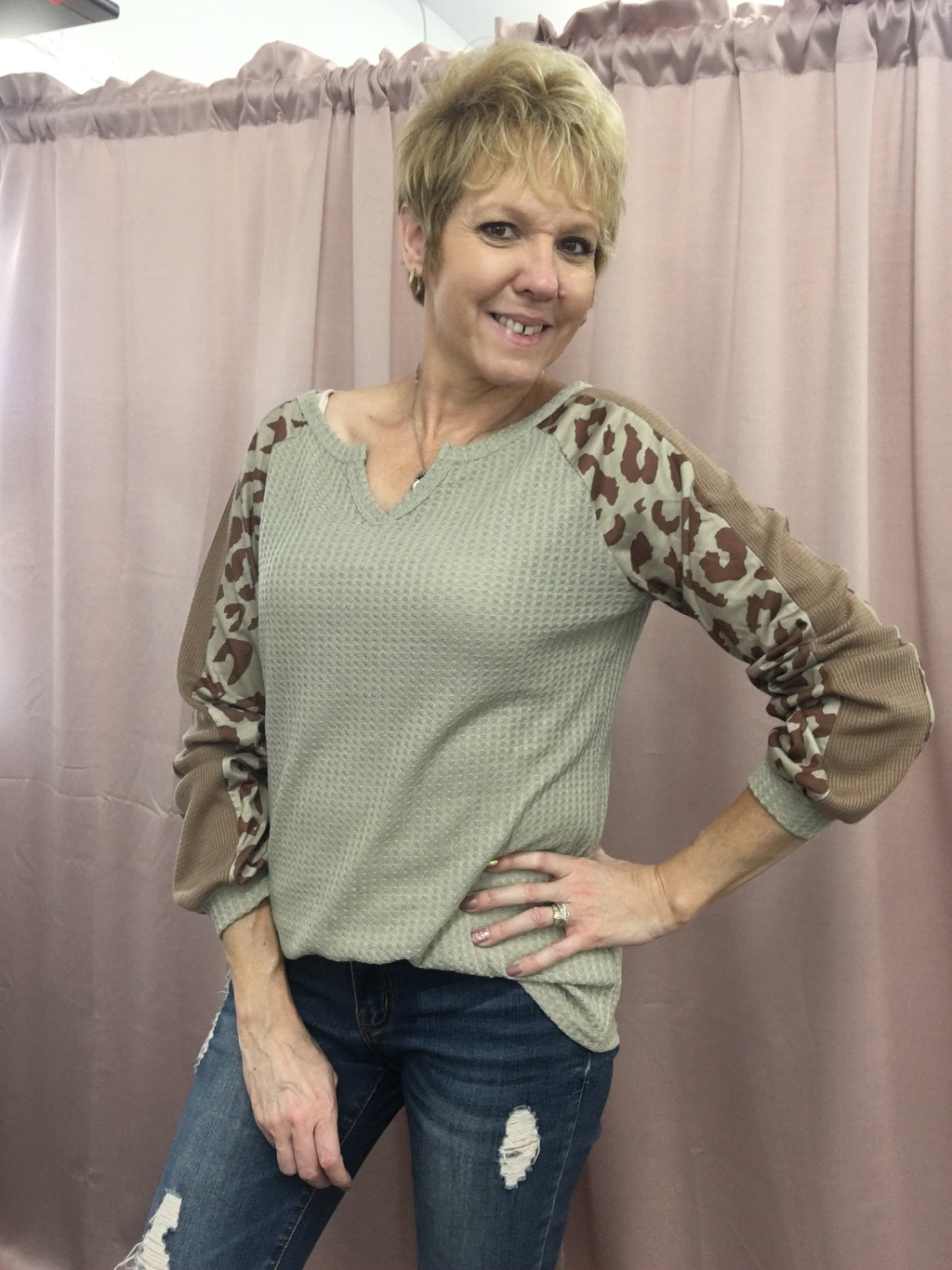 Leopard Print Waffle Knit Top 3/4 Sleeve Top