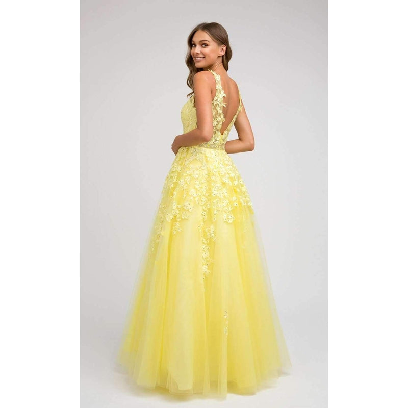 Yellow Applique Full Tulle Skirt Jeweled Belt