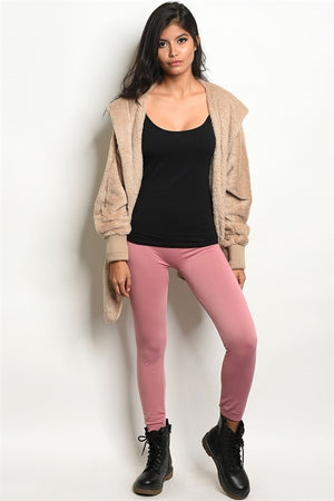 MAUVE FLEECE LEGGINGS