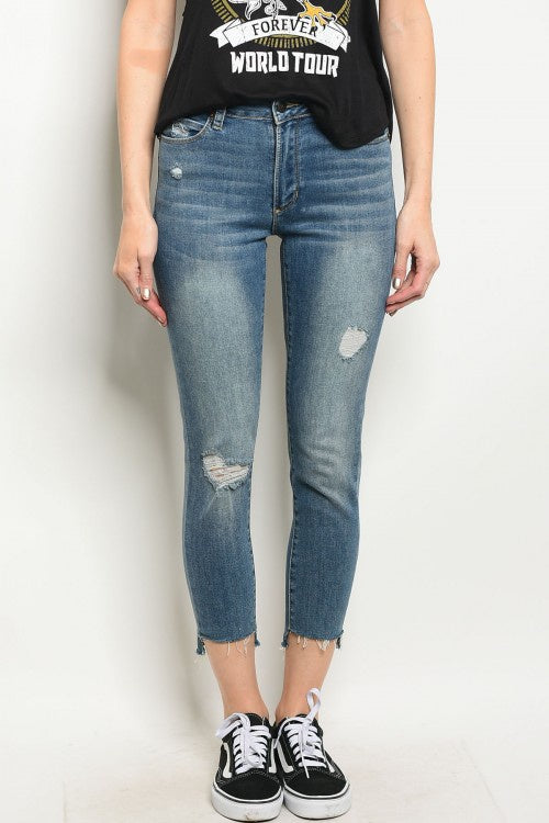 High-Rise Frayed Leg Skinny Jeans - Barbara's Boutique