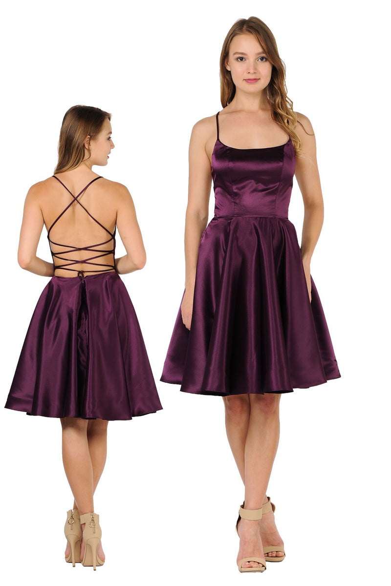 Plum high neck open strappy back homecoming dress