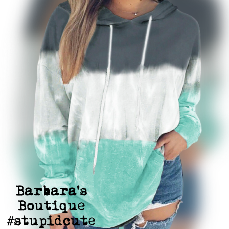 Light Mint Green Color Block Tye-Dye Hoodie