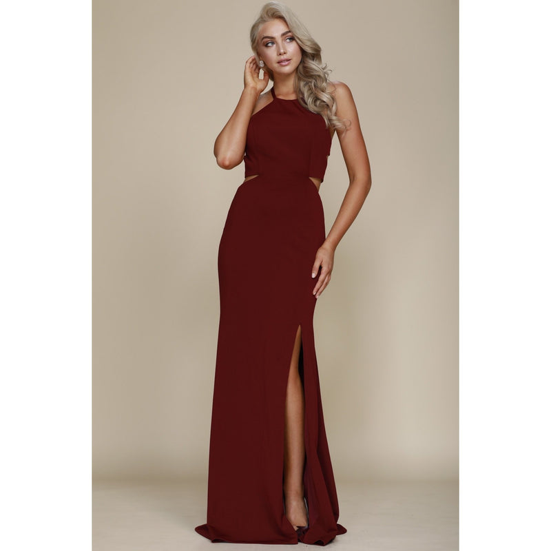 Lace Up Back Burgundy Gown - Barbara's Boutique