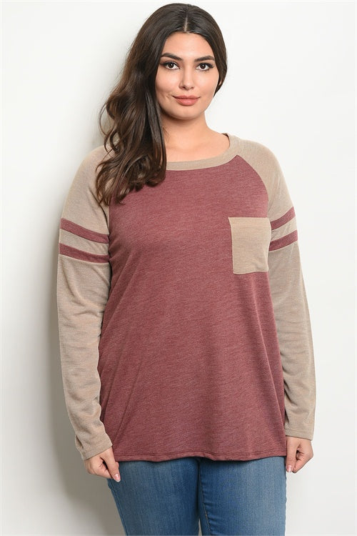 PLUS SIZE BURGUNDY & TAUPE LONG SLEEVE