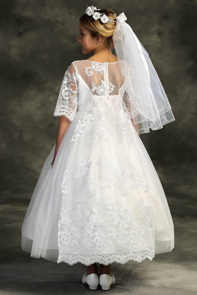 Miniature Bride Half Sleeve Bodice With Sheer Neckline