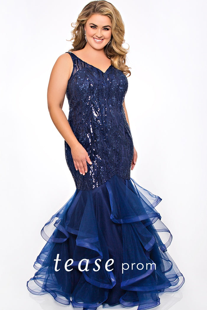Cobalt Blue Beaded Applique & Glitter Tulle Skirt