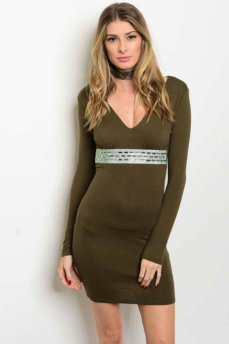 FOREST GREEN WITH RHINESTONE DRESS