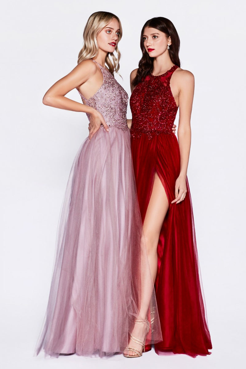 Burgundy A-line layered tulle dress with halter neckline and leg slit.
