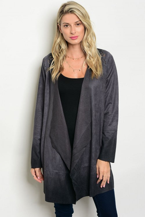 CHARCOAL SUEDE CARDIGAN