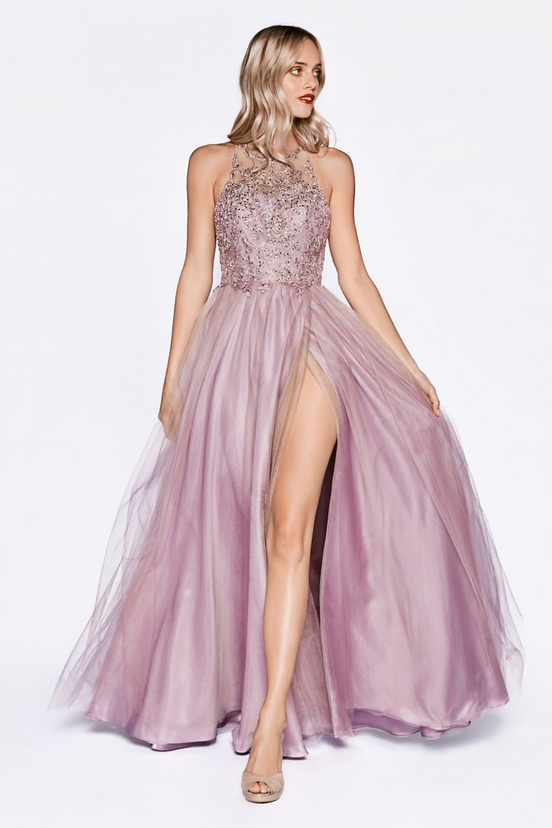 Mauve A-line layered tulle dress with halter neckline and leg slit.