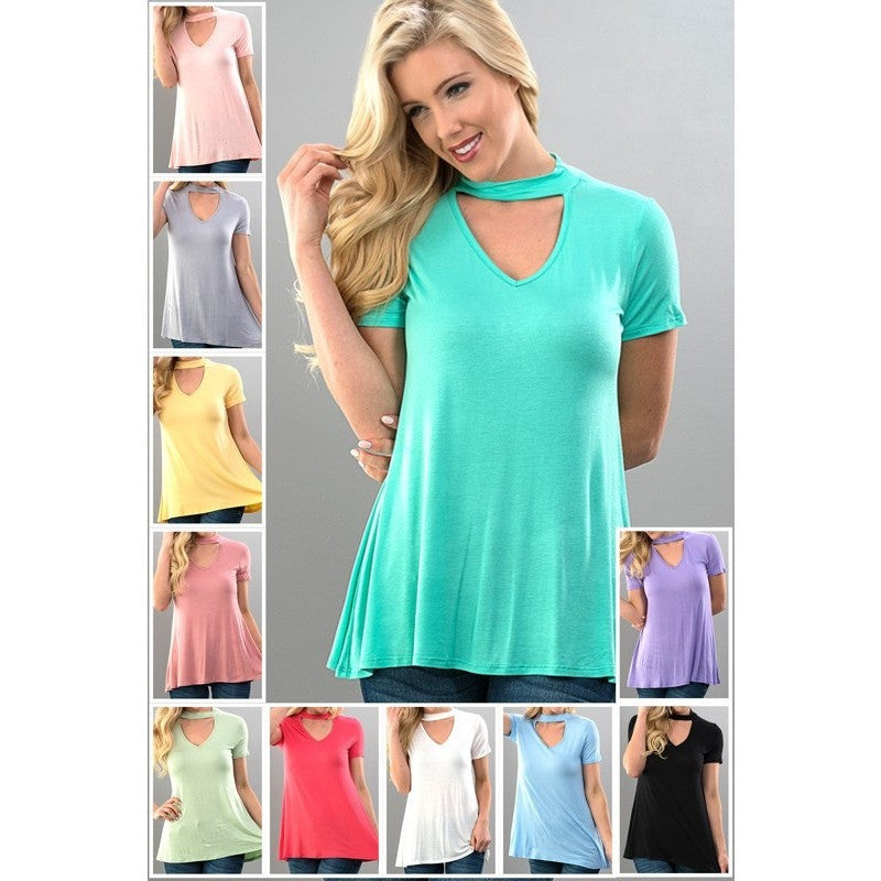 Choker Neck Triangle Cut Short Sleeve Top -Barbara's Boutique