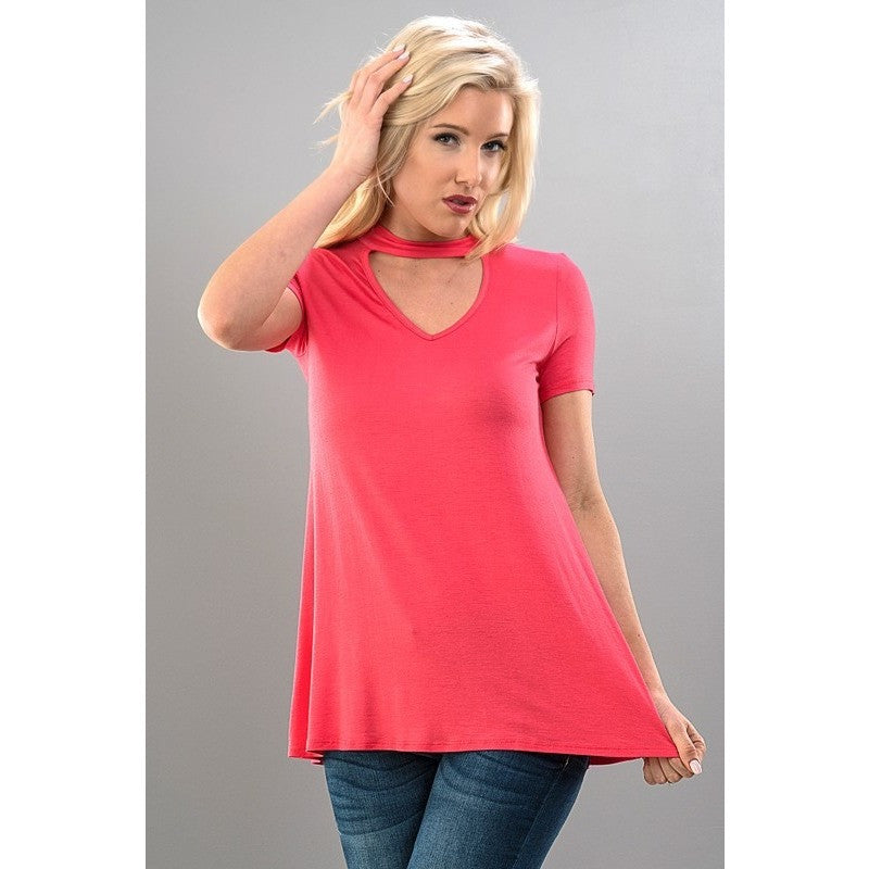 Choker Neck Triangle Cut Short Sleeve Top - Barbara's Boutique