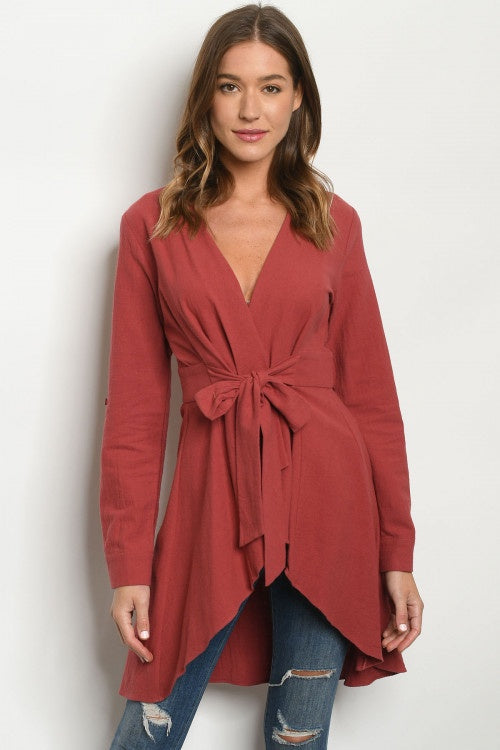 Long Sleeve Brick Cardigan With Tie Front