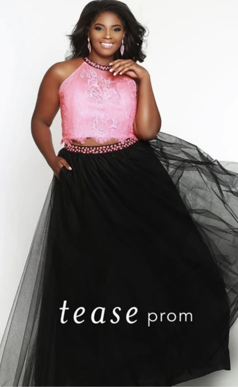 Melon Two Piece Lace Top with Tulle Skirt