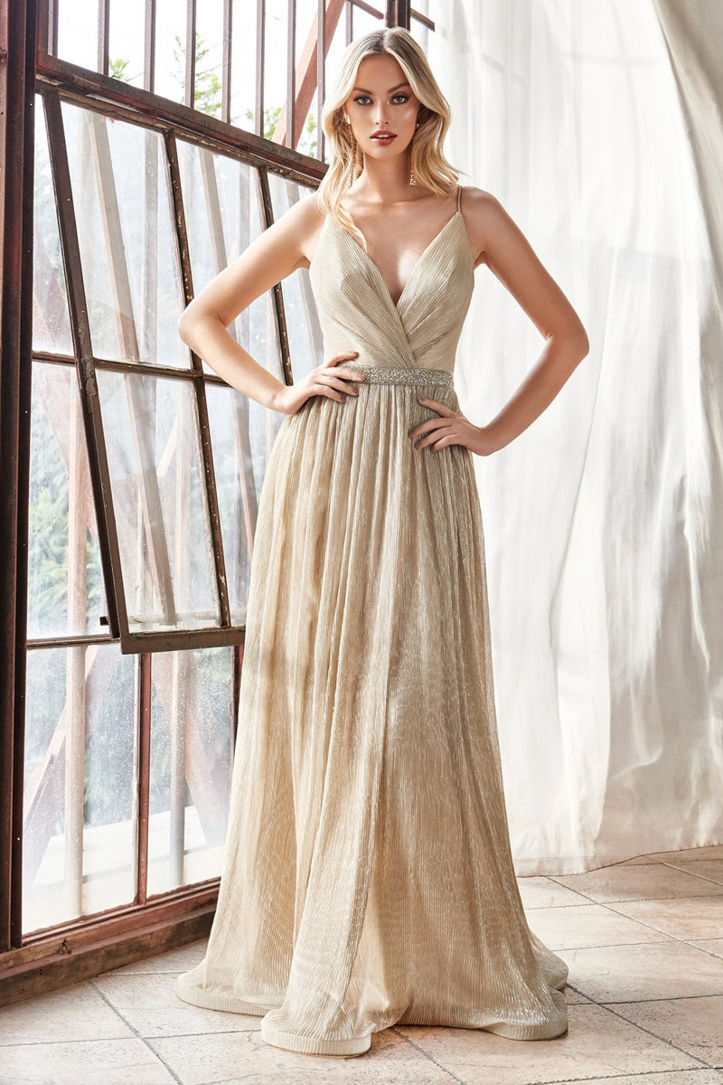 Champagne A-line metallic dress with an embellished belt